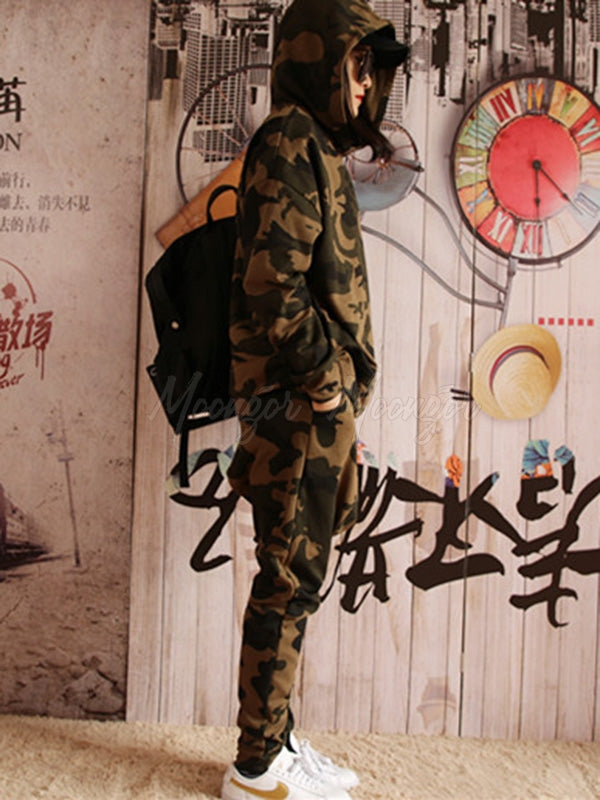 Camouflage Casual Solid Hoodie&Pants Suits