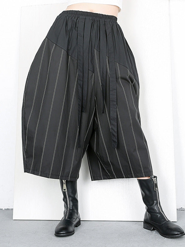 Stripes Wide-leg Elastic Fashion Pants