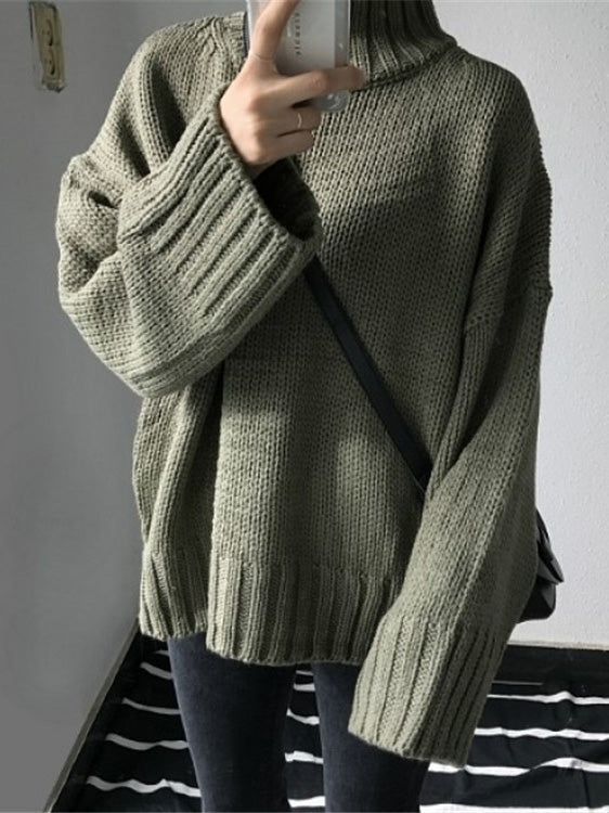 Knitting Loose Solid High-neck Sweater