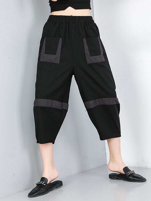 Loose Elastic Waist Design Wide Leg Pants
