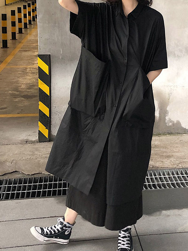 Original Loose Oversize Solid Black Blouse Dress