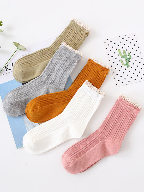 Plain Lace-Up Jacquard Breathable Socks