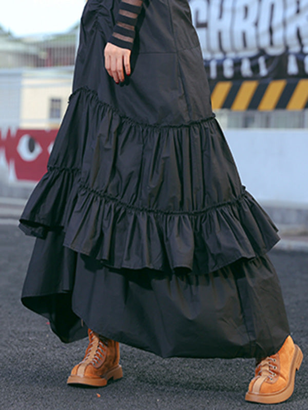 Loose Black Cropped Mermaid Tiered/Layeres Skirt