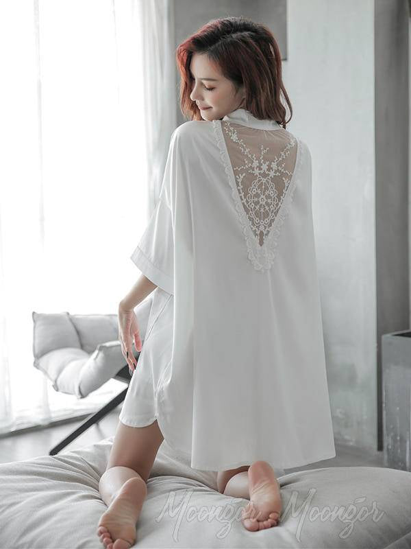 White&Pink Lace-V-Back Silk Imitation Shirt Pajamas