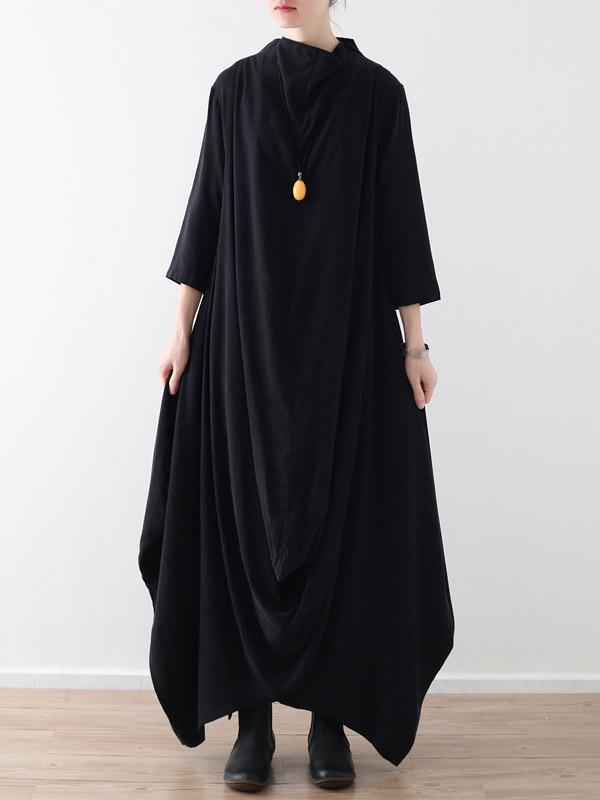 Loose Asymmetric Split-joint Long Dress