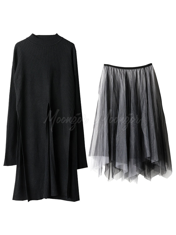 Two-Pieces Knit Split Sweater And Mesh Skirt Suit