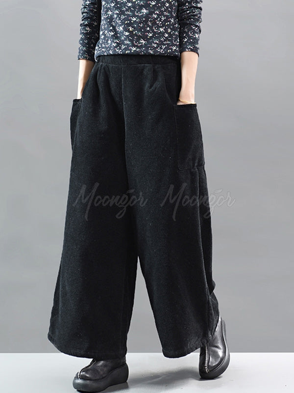 Vintage Corduroy Thickening Wide Leg Pants