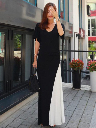 Black&White Split-joint V-neck Long Dress