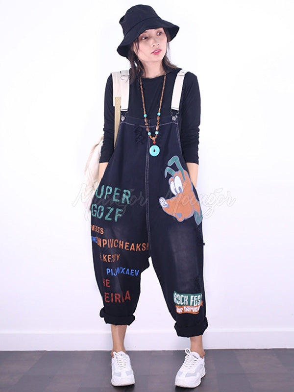 Casual Letter Cartoon Printed Jumpsuits