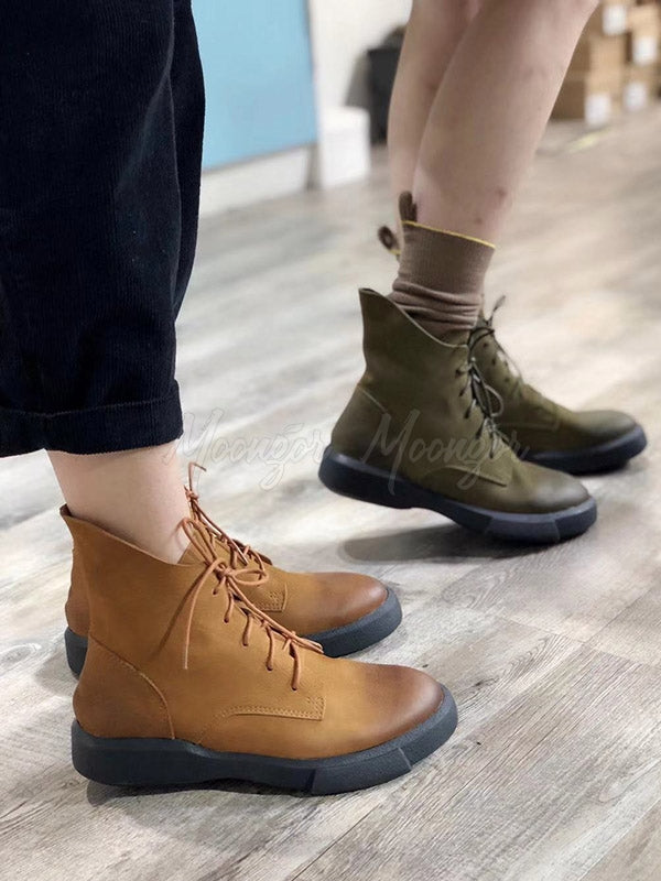 Vintage Lace-Up Cow Leather Short Boots
