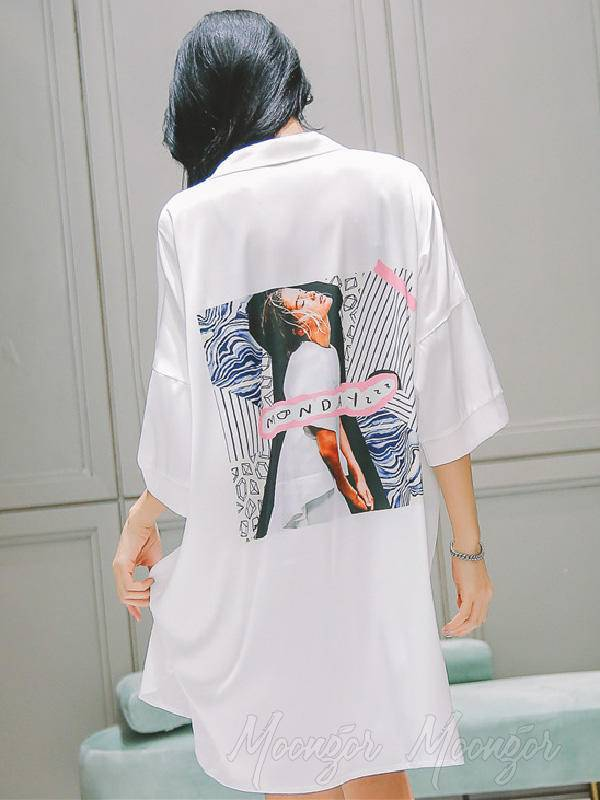 Girl Printed Loose V Neck Shirt Pajamas