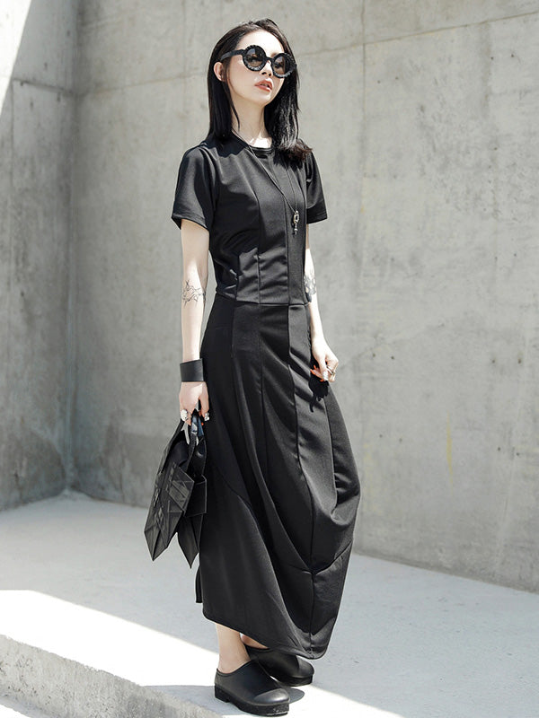 Simple Black Winkled Long Dress