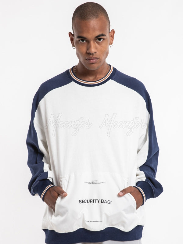 Loose Split-joint Round-neck Men's Base Sweatshirt
