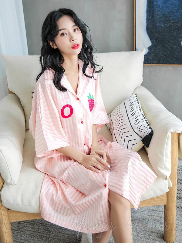 Strawberry Print Striped Ice Silk Loose Pajamas