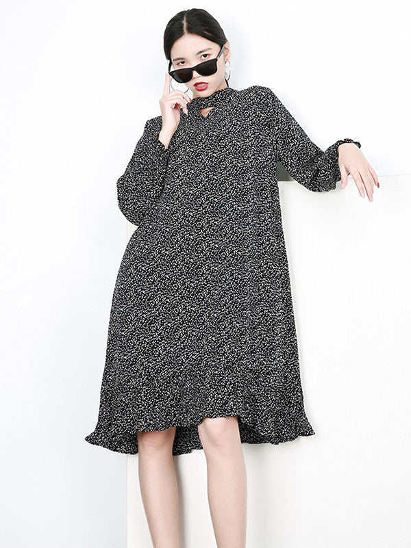 Printed Fresh Loose Plus Size Midi Dresses