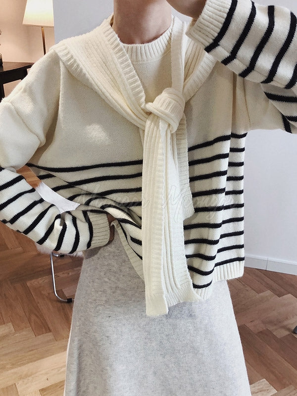 Casual False-Two Knitting Stripped Sweater