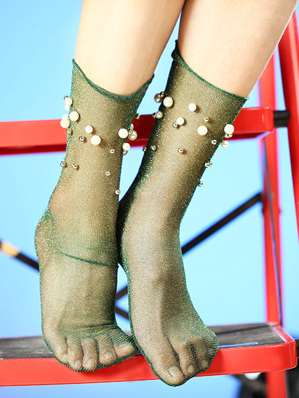 Beaded See-Through Pile Socks