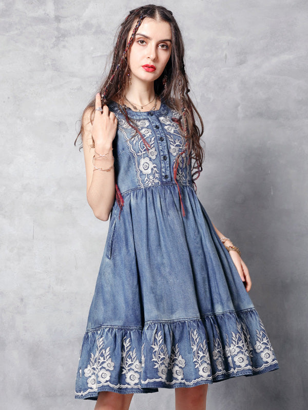 2019 Summer New Vintage Embroidery Falbala  Dress