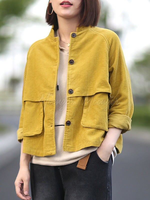 Casual Designed Corduroy Outwears
