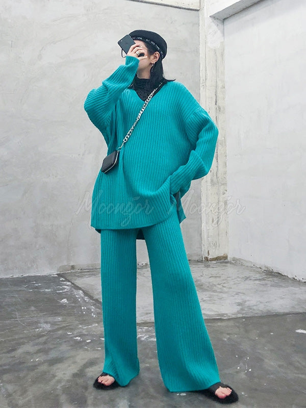 Two-Pieces Knitting Sweater Wide-Leg Pants Set