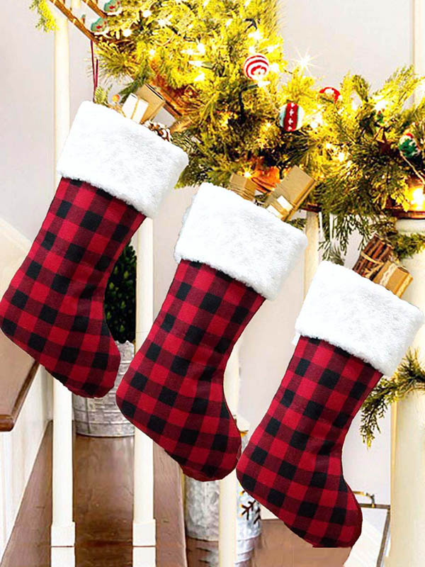 Plaid Cloth Christmas Stocking Decorations