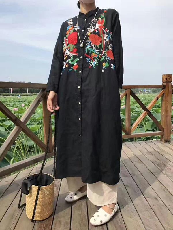 National Embroidered Cotton Long Cover-up
