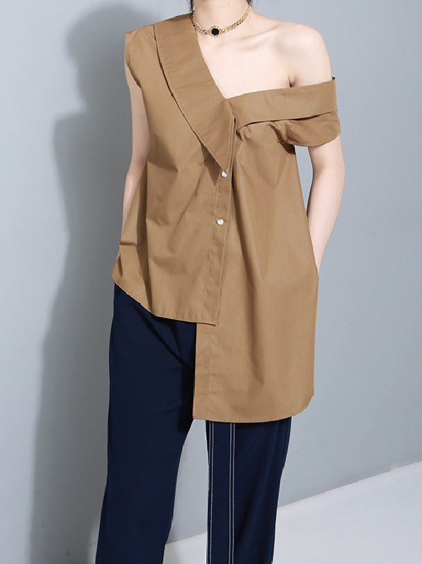 Bow-embellished Bandage Asymmetric Blouse