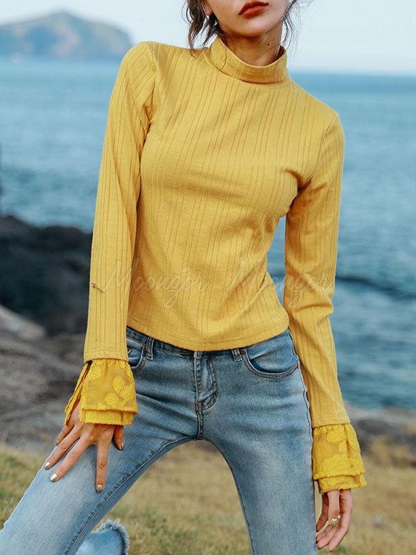 Lace Stitching Striped Knit Turtleneck Sweater