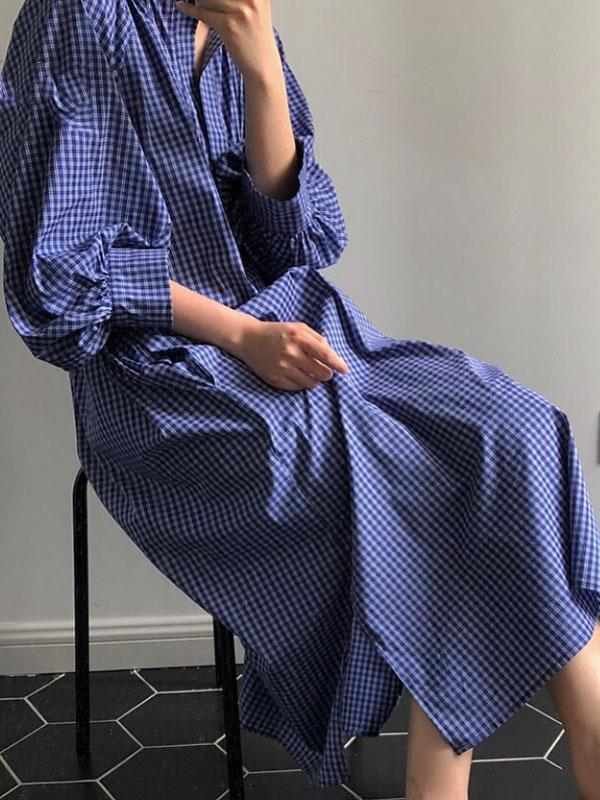 Casual Fresh Plaid Puff Sleeve Long Dress