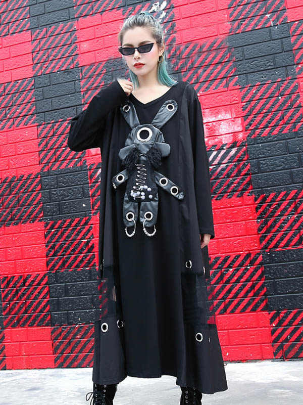 Loose Rabbit Split-joint Long Dress