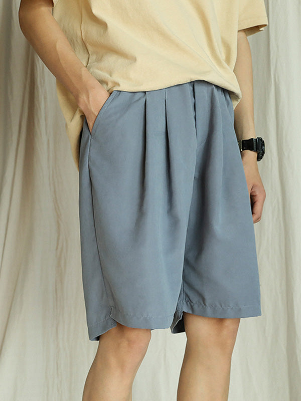 Loose Straight Leg Pure Color Men Shorts