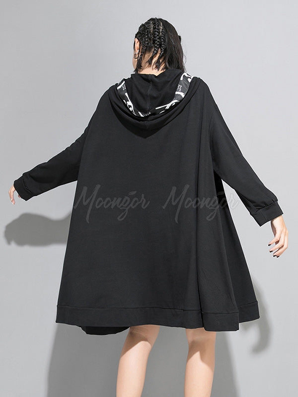 Casual Split-joint Hoodie Goth Sweatshirt Dress