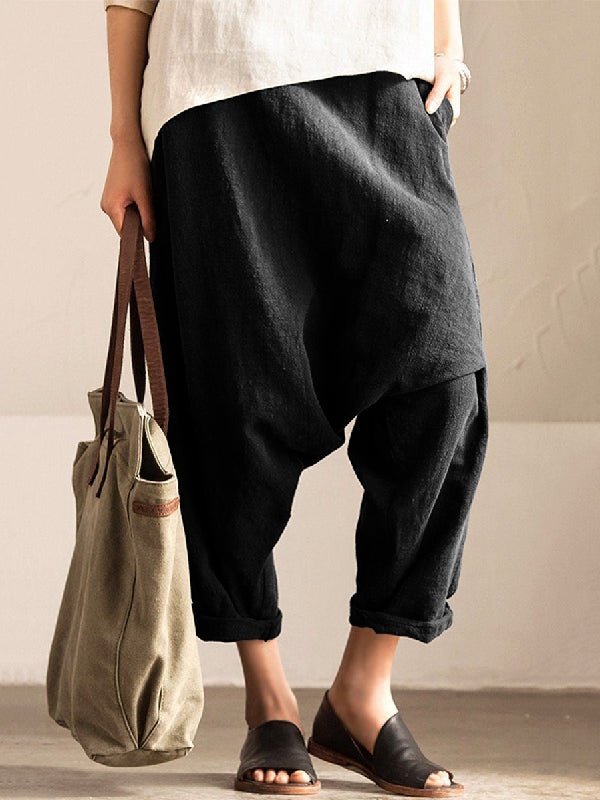 Loose Solid With-pockets Linen Harem Pants