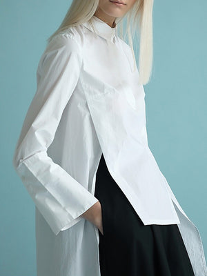 Original White High-low Split-back Blouse