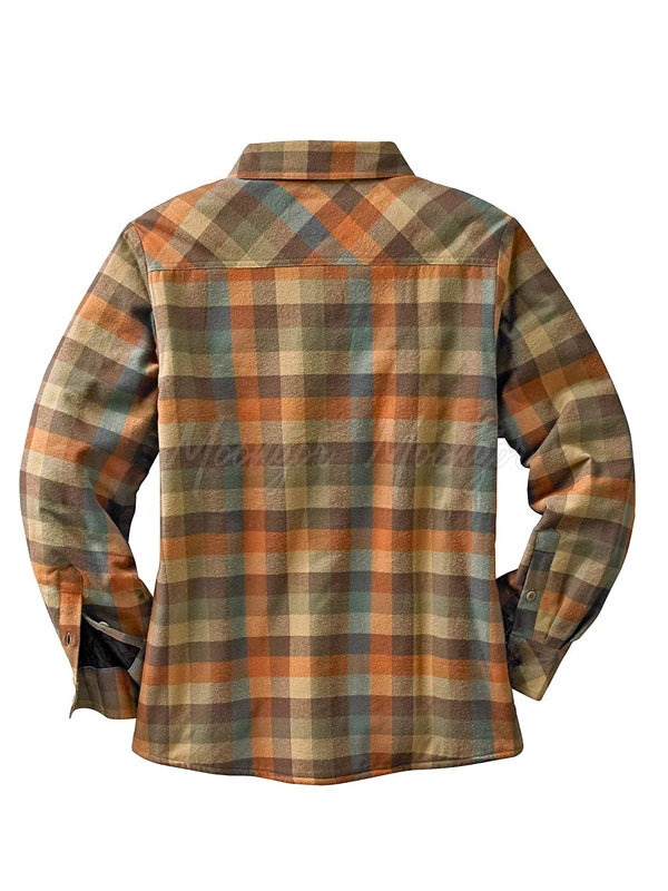 Men Long Sleeves Plaid Winter Lamb Cashmere Retro Shirt
