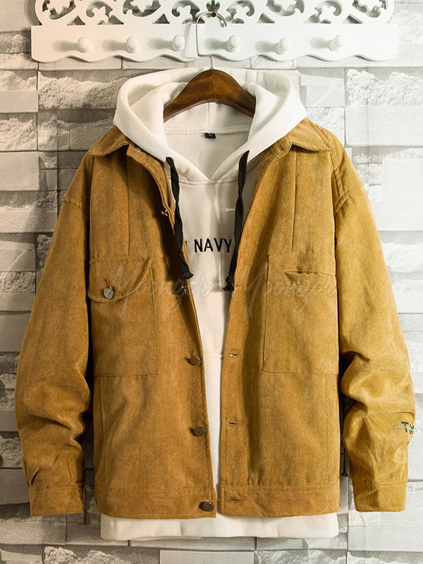 Autumn Men's Solid Corduroy Jacket Coat
