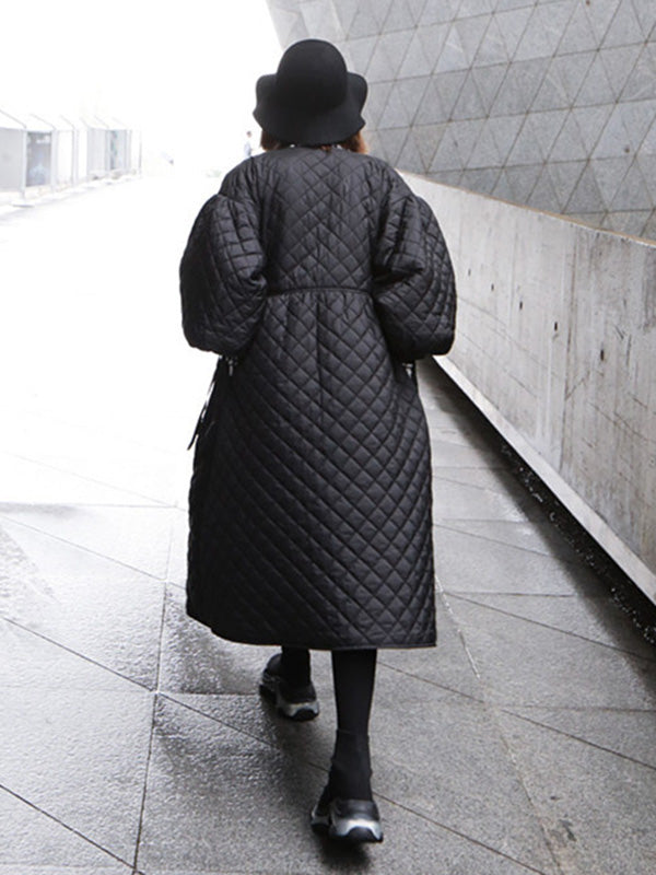 Vintage Oversize Lantern Sleeves Rhombus Plaid Cotton Padded Coat