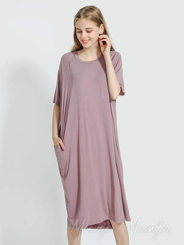 Comfortable Solid Short Sleeves Pajama Dress
