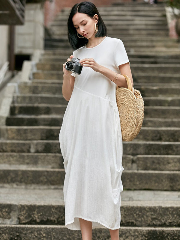 Loose White Split-joint Cropped Round-neck Long Dress
