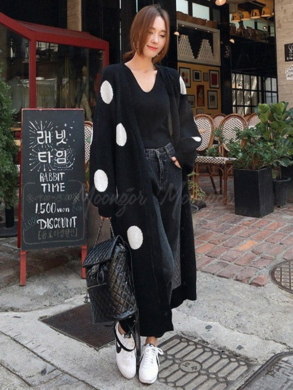 Loose Polka-Dot Printed Long Cover-Up