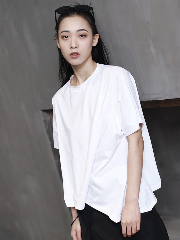829bdead8b883 Cropped Wrinkle Solid T-shirt – moongor