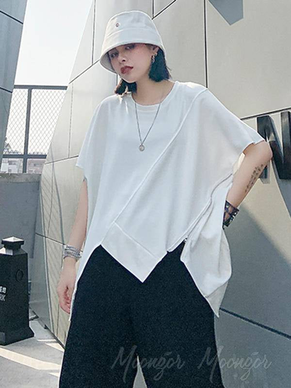 Asymmetric Split-Joint Round-Neck T-Shirt