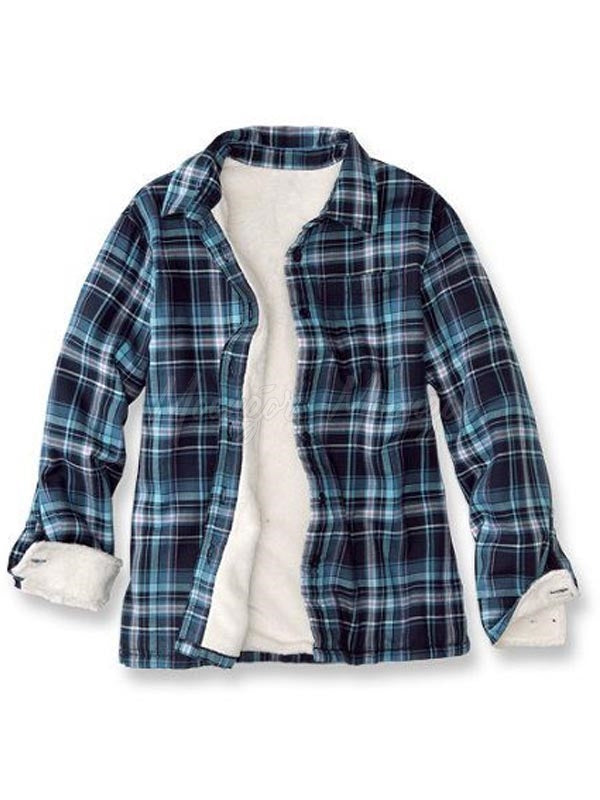 Men Casual Lapel Lamb Cashmere Lined Plaid Retro Flannel Shirt