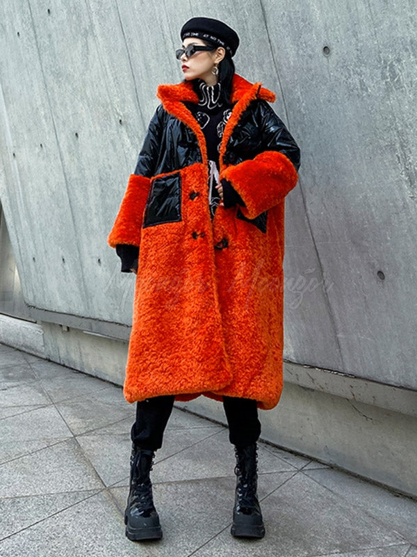 Stitching Contrast Color Thickening Woolen Coat