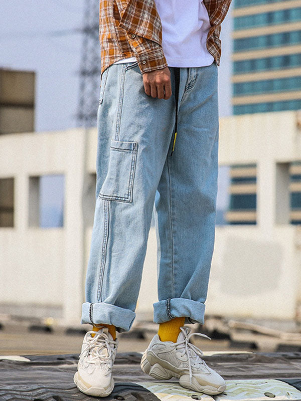 Vintage Loose Hip-hop Men Wide Leg Pants