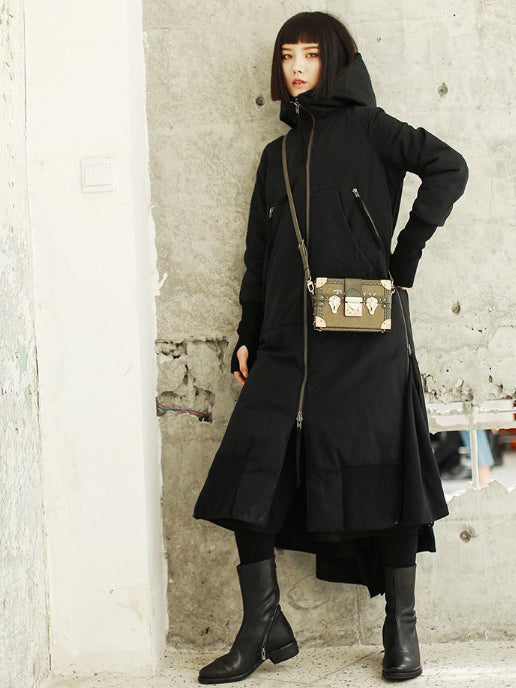 Original Designed Black Split-side Warm Outwear