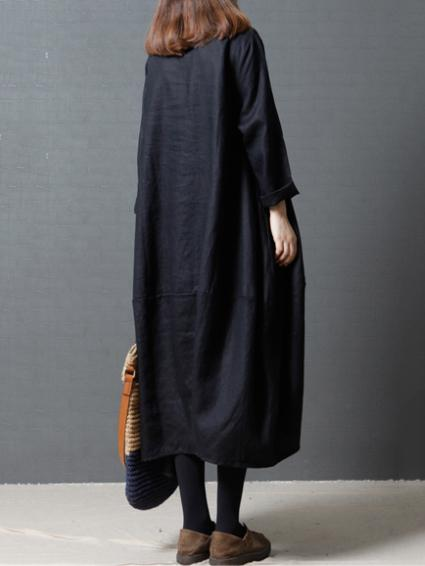 3 Colors Loose Ramie Cotton Long Sleeves Long Dress