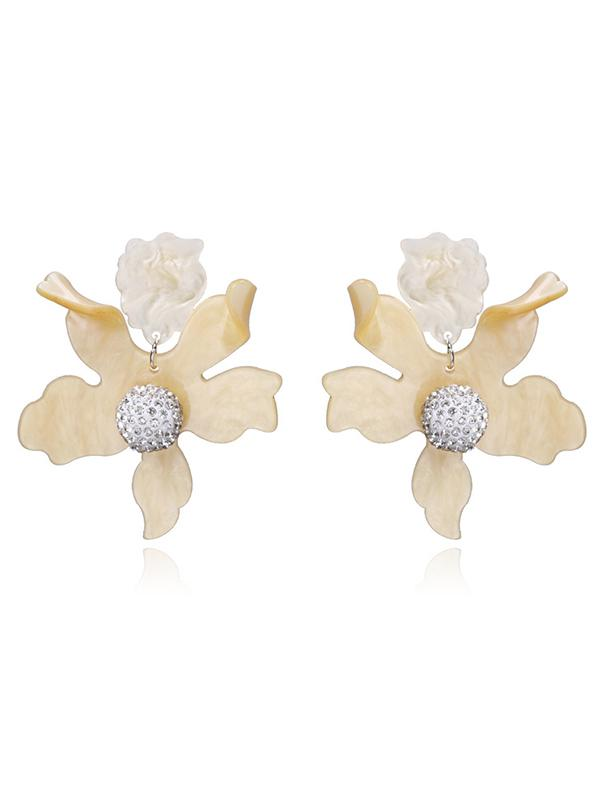 2 Color Flower Decorated Earring Accessories