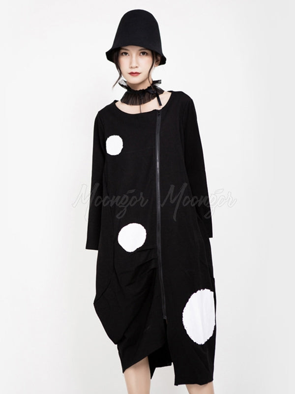 Polka-dot Printed Cropped Zipper Midi Dress Outwear
