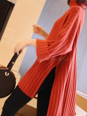 Loose Split-Side High-Neck Sweater